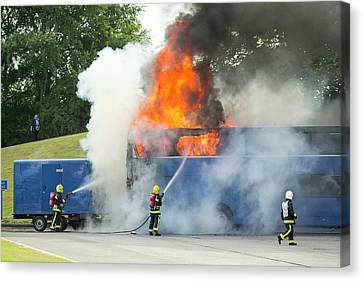 Fire Fighters Tackle A Coach Blaze Canvas Print