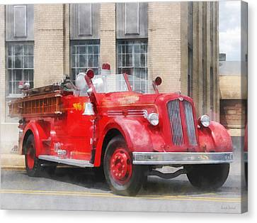 Fire Fighters - Vintage Fire Truck Canvas Print by Susan Savad