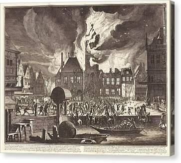 1690 Canvas Print - Fire In Amsterdam by Manuscripts And Archives Division/new York Public Library