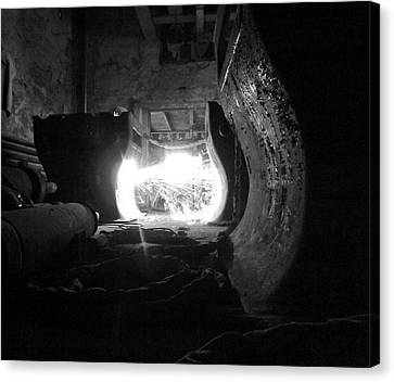 Fire In The Hole Bw Canvas Print by Elizabeth Sullivan