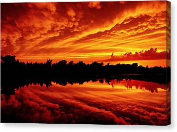 Canvas Print featuring the photograph Fire In The Sky by Jason Politte