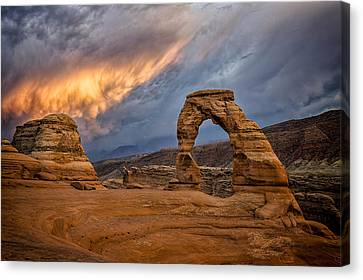 Fire In The Sky Canvas Print by Jeff Burton