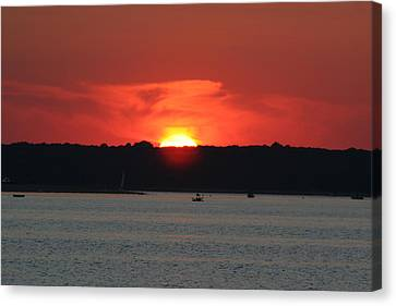 Canvas Print featuring the photograph Fire In The Sky by Karen Silvestri