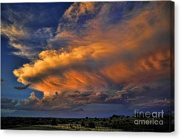 Canvas Print featuring the photograph Fire In The Sky by Karen Slagle