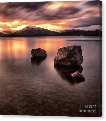 Fire In The Sky Loch Lomond Canvas Print by John Farnan