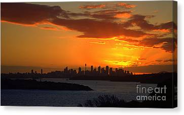 Canvas Print featuring the photograph Fire In The Sky by Miroslava Jurcik