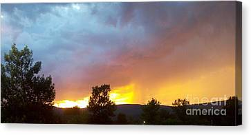 Canvas Print featuring the photograph Fire In The Sky by Polly Anna