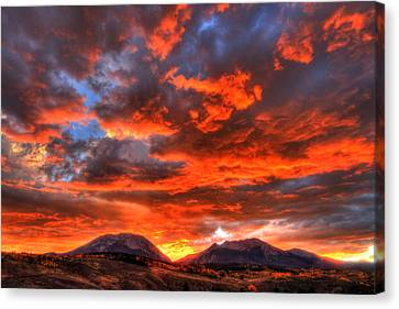 Fire In The Sky Canvas Print by Scott Mahon