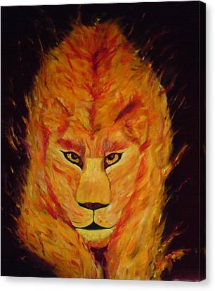 Canvas Print featuring the painting Fire Lioness by Persephone Artworks