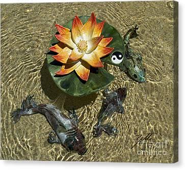 Canvas Print featuring the sculpture Fire Lotus With Dragon Koi by Suzette Kallen