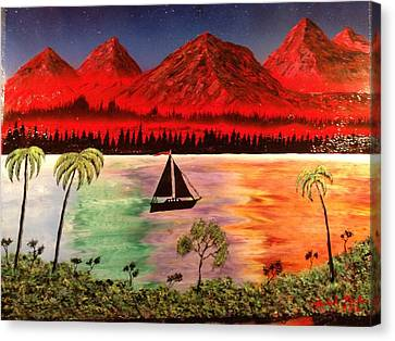 Canvas Print featuring the painting Fire Mountain by Michael Rucker