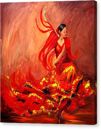Fire Of Life Flamenco Canvas Print by Sheri  Chakamian