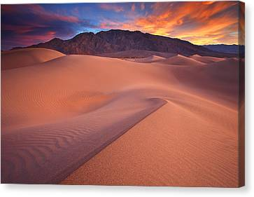 Fire On Mesquite Dunes Canvas Print by Darren  White