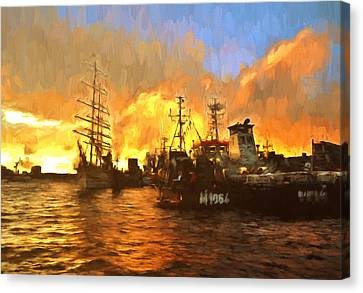 Fire On The Harbor Canvas Print by Georgiana Romanovna