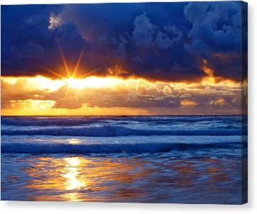 Oregon Coast Canvas Print - Fire On The Horizon by Darren  White