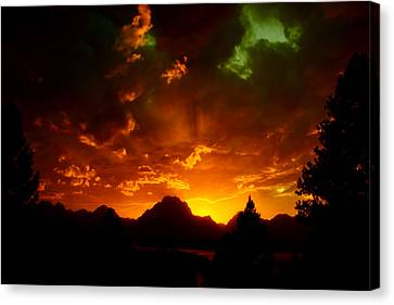 Fire On The Mountain - Grand Teton National Park Canvas Print by Aidan Moran