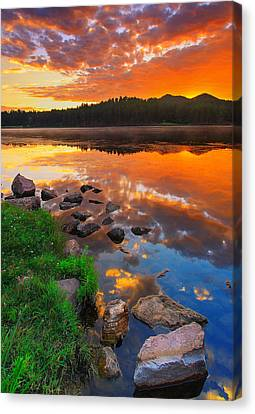 Canvas Print featuring the photograph Fire On Water by Kadek Susanto
