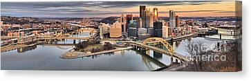 Fire Over The Pittsburgh Skyline Canvas Print by Adam Jewell