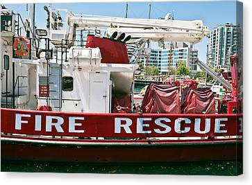 Canvas Print featuring the photograph Fire Rescue Boat by Marek Poplawski