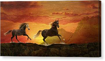 Fire Sky Canvas Print by Melinda Hughes-Berland