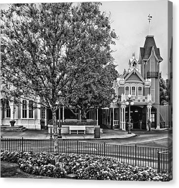 Fire Station Main Street In Black And White Walt Disney World Canvas Print by Thomas Woolworth