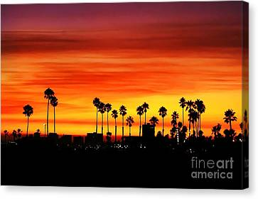 Canvas Print featuring the photograph Fire Sunset In Long Beach by Mariola Bitner