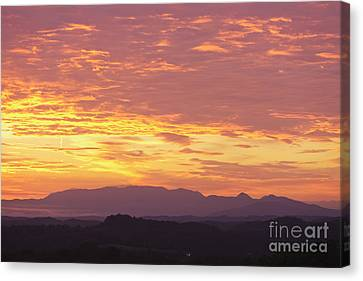 Fire Sunset Over Smoky Mountains Canvas Print by Kay Pickens