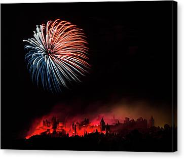 Red Fireworks Canvas Print - Fire by Thierry Boitelle