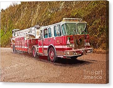 Fire Truck Ladder Unit. Canvas Print