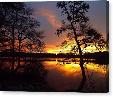 Canvas Print featuring the photograph Sunrise Fire by Dianne Cowen