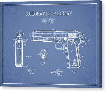 Firearm Patent Drawing From 1911 - Light Blue Canvas Print by Aged Pixel