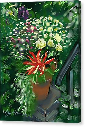 Canvas Print featuring the painting Firecracker Peppers by Jean Pacheco Ravinski