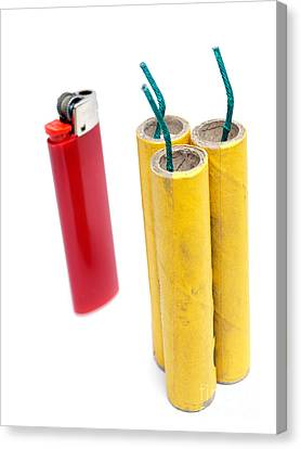 Firecrackers And Lighter Canvas Print by Sinisa Botas