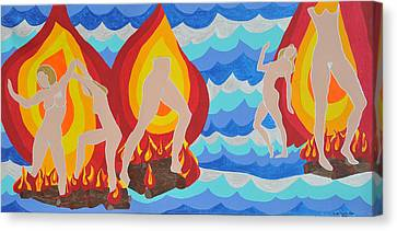 Canvas Print featuring the painting Fired by Erika Chamberlin