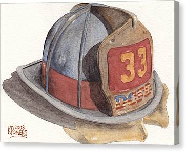 Firefighter Helmet With Melted Visor Canvas Print by Ken Powers