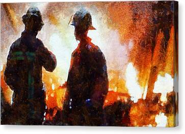 Firefighters At The Scene Canvas Print by Dan Sproul