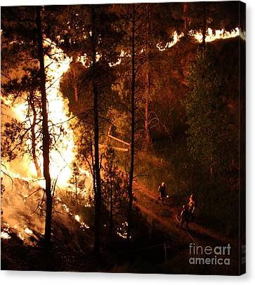 Firefighters Burn Out On The White Draw Fire Canvas Print by Bill Gabbert