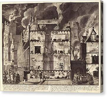 1690 Canvas Print - Firefighting In Amsterdam by Manuscripts And Archives Division/new York Public Library