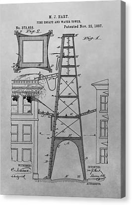 Fire Escape Canvas Print - Firefighting Patent Drawing by Dan Sproul