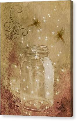 Fireflies And Dragonflies Canvas Print