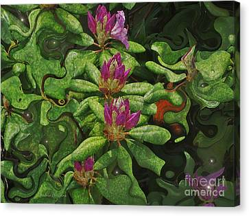 Fireflies And Flowers Canvas Print by Kathie Chicoine