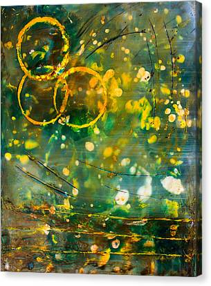 Summer Light Canvas Print - Fireflies Encaustic by Bellesouth Studio