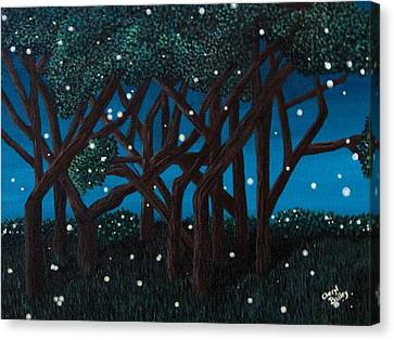 Canvas Print featuring the painting Fireflies by Cheryl Bailey