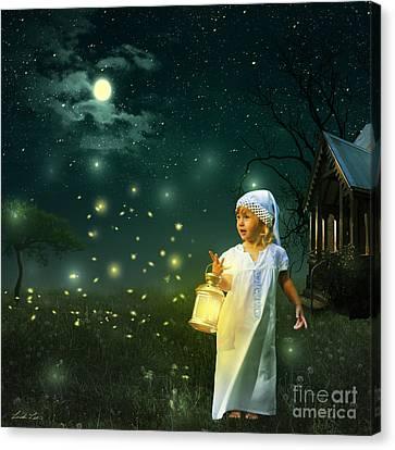 Fireflies Canvas Print by Linda Lees