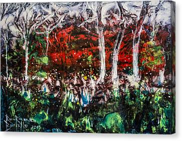 Canvas Print featuring the painting Fireflies by Ron Richard Baviello