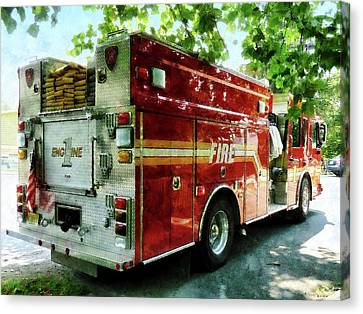 Fireman - Back Of Fire Truck Canvas Print by Susan Savad