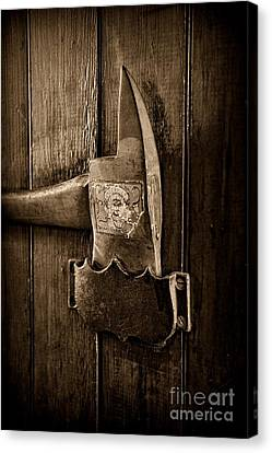 Fireman - Fire Axe In Black And White Canvas Print by Paul Ward