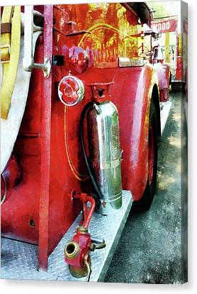 Fireman - Fire Extinguisher On Fire Truck Canvas Print