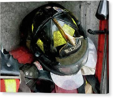 Fireman - Fire Fighter's Helmet Closeup Canvas Print by Susan Savad
