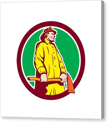 Workers Canvas Print - Fireman Firefighter Standing Axe Circle Retro by Aloysius Patrimonio